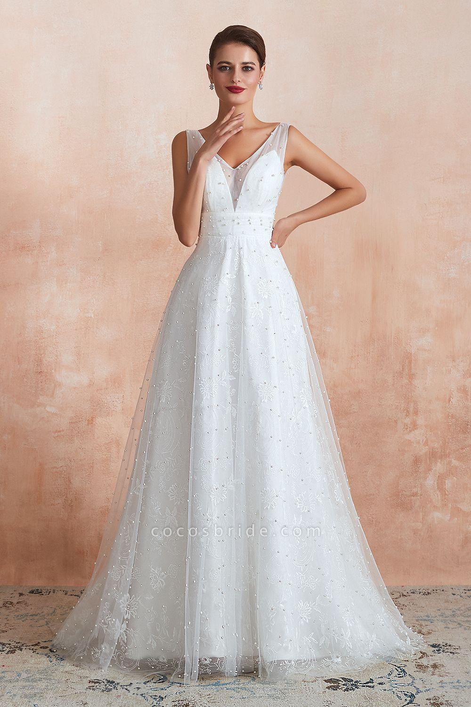 Graceful V-neck Pearl Tulle A-line Wedding Dress