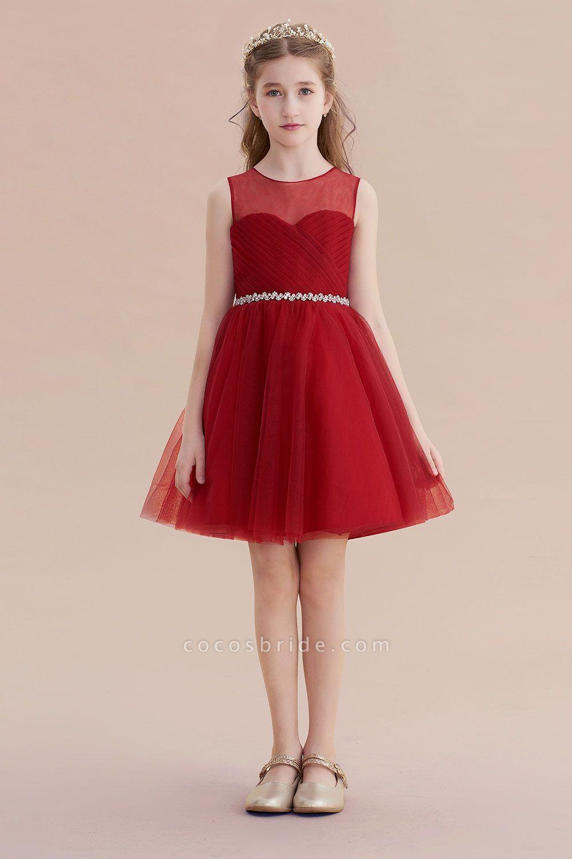 Illusion Tulle Knee Length A-line Flower Girl Dress