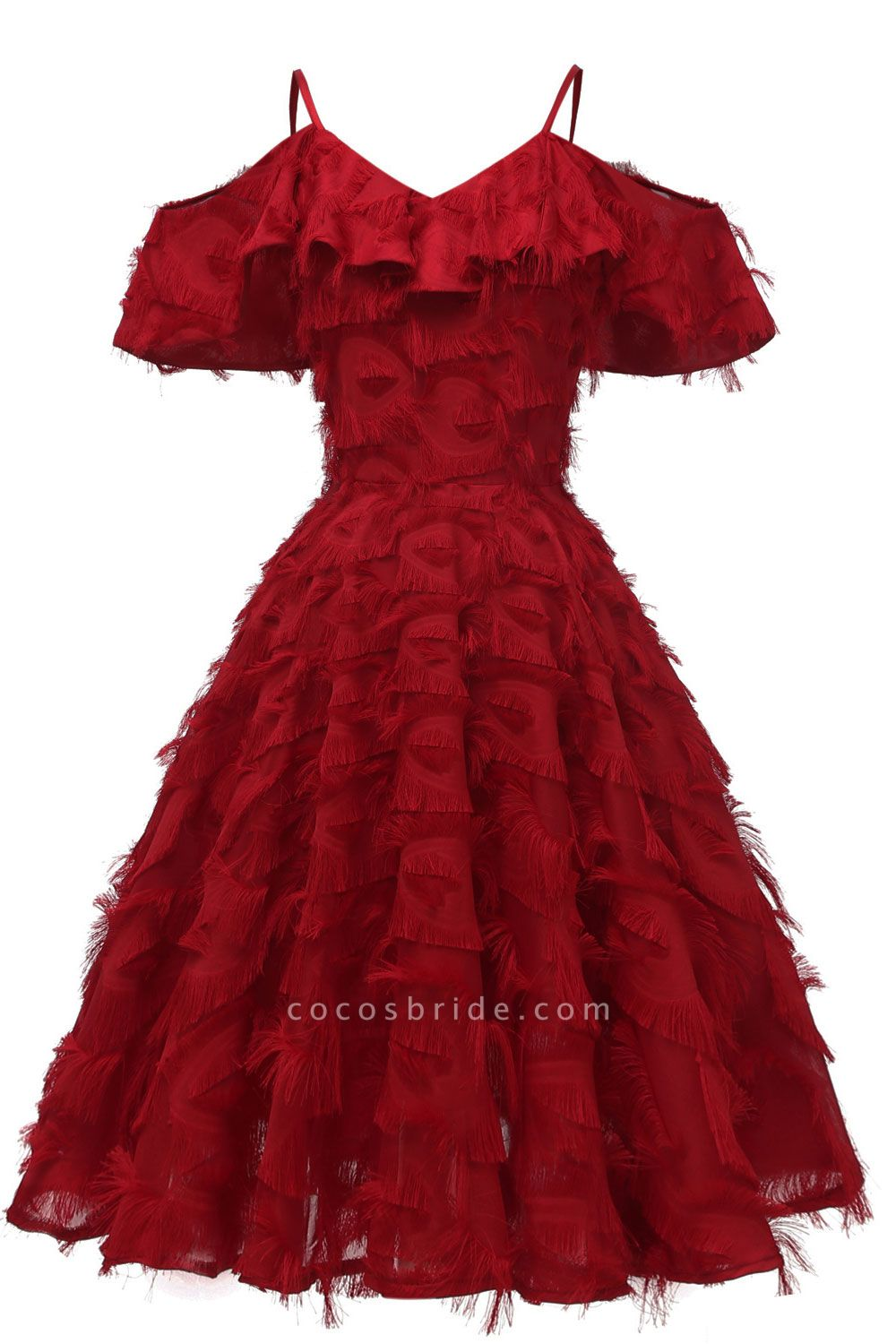 New Spaghetti Straps Artifical Feather Princess Vintage Dresses for Homecoming | Womens Retro A-line Burgundy Cocktail Dress