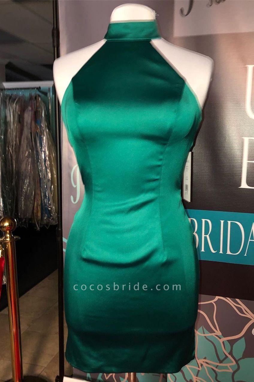 Simple Dark Green High Neck Homecoming Dress