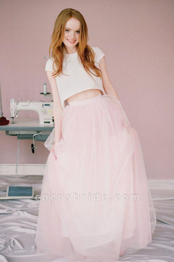 Latest Short Sleeve Tulle Two Piece Wedding Dress