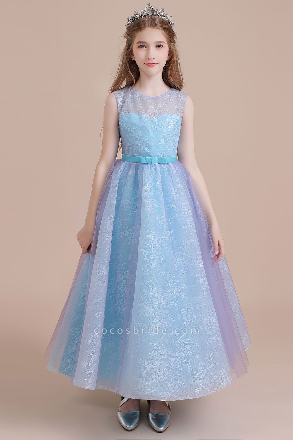 Illusion Lace Tulle A-line Flower Girl Dress