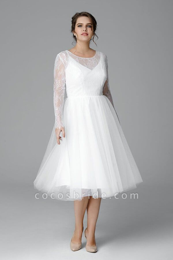 Plus Size Long Sleeve Lace Tulle Wedding Dress