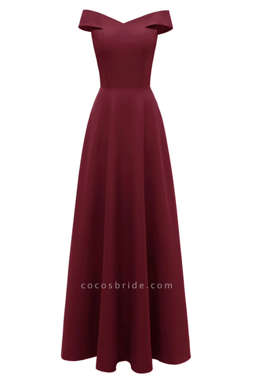 Women Simple Off-the-shoulder Bridesmaid Party Dress Long Burgundy Dress