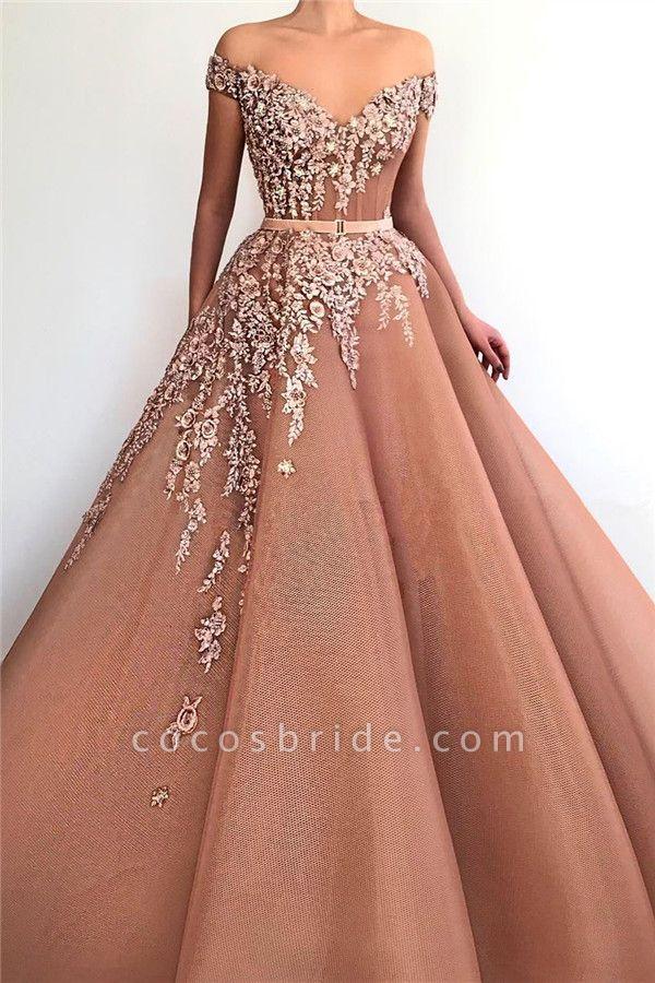 Latest V-neck Appliques A-line Prom Dress