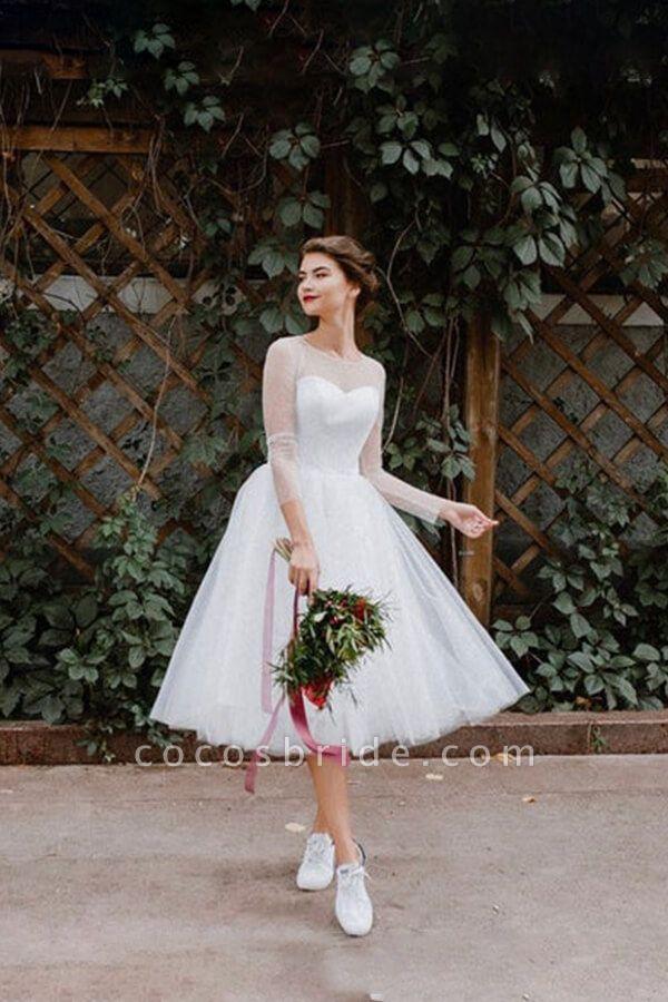 Illusion Long Sleeve Tulle A-line Wedding Dress