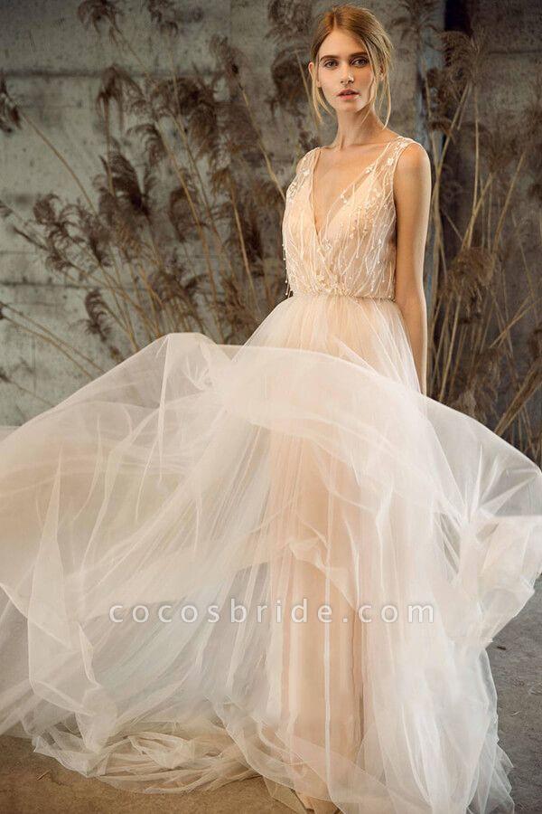 Awesome V-neck Tulle Chapel Train Wedding Dress