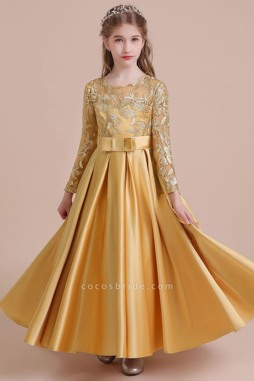 Long Sleeve Satin Ankle Length Flower Girl Dress