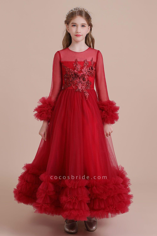Long Sleeve Applique Tulle A-line Flower Girl Dress