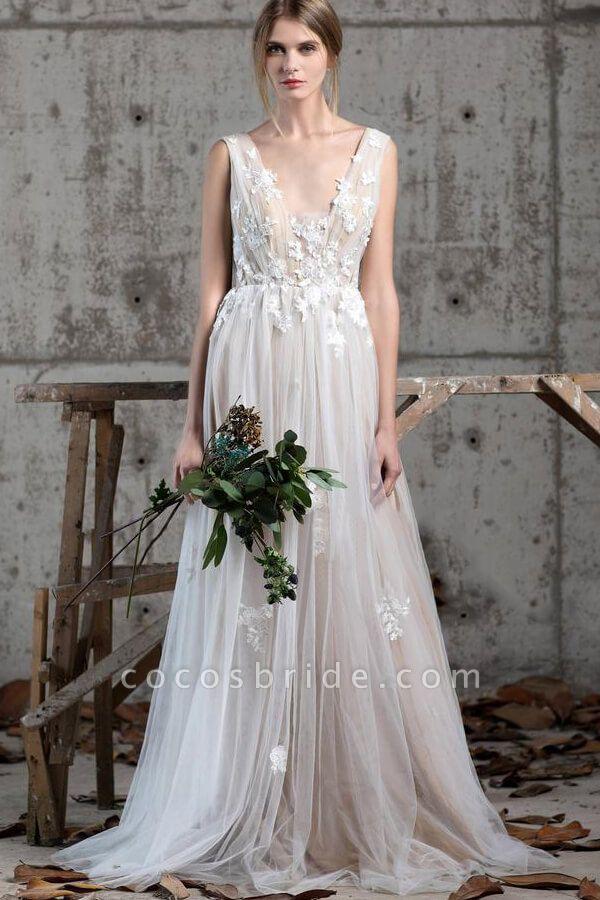 Affordable V-neck Appliques A-line Wedding Dress