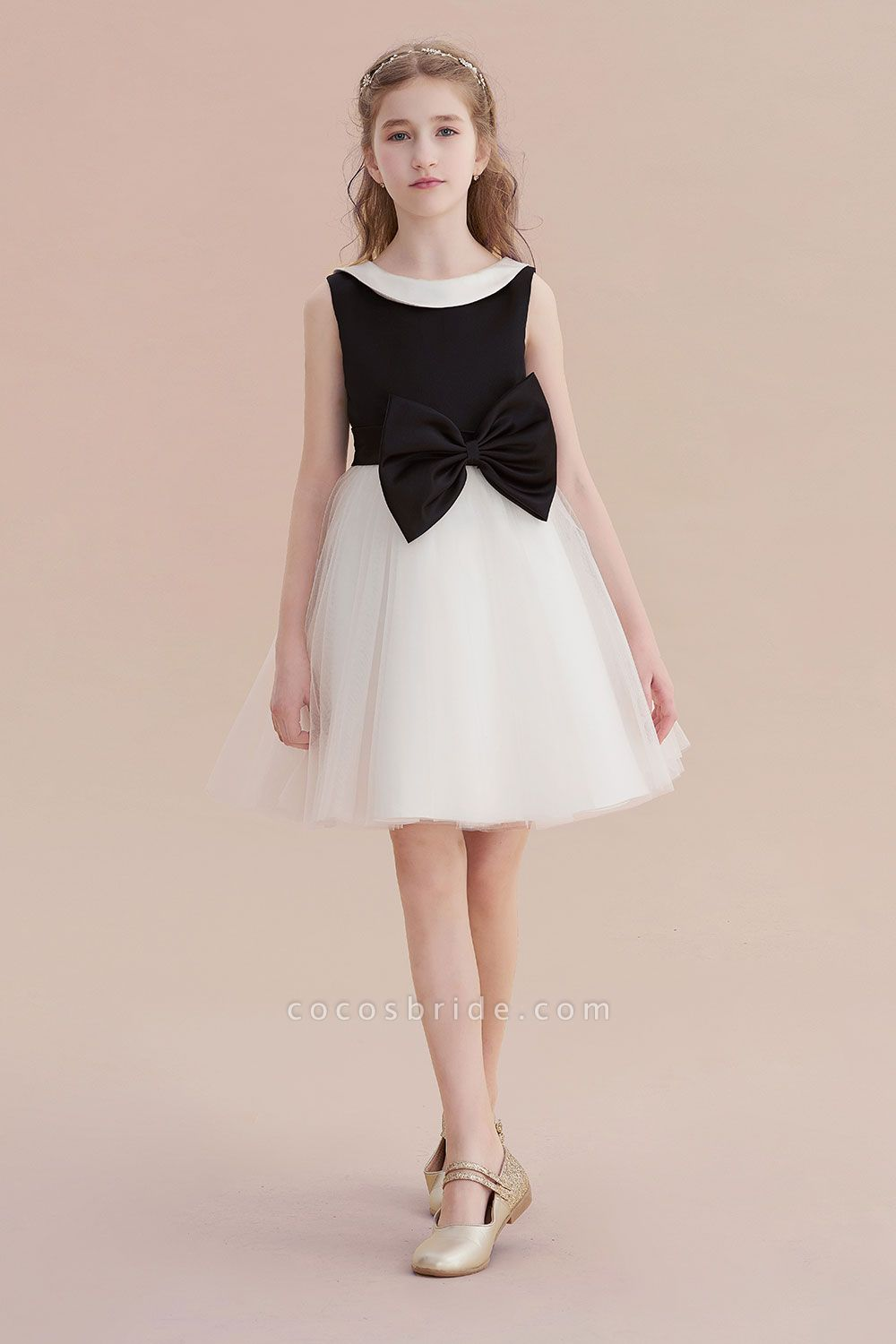 Affordable Bow Tulle A-line Flower Girl Dress