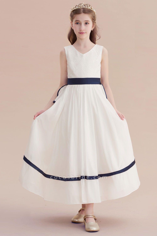 Chic V-neck Lace Ankle Length Flower Girl Dress