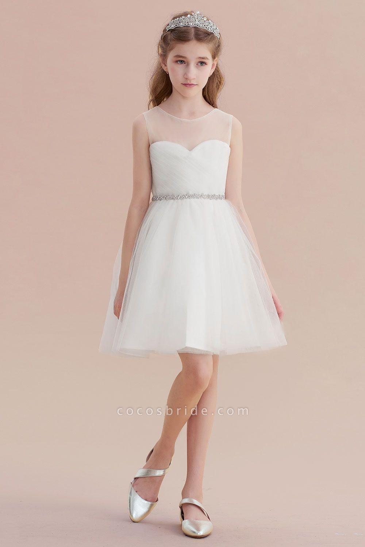 Illusion Knee Length A-line Tulle Flower Girl Dress