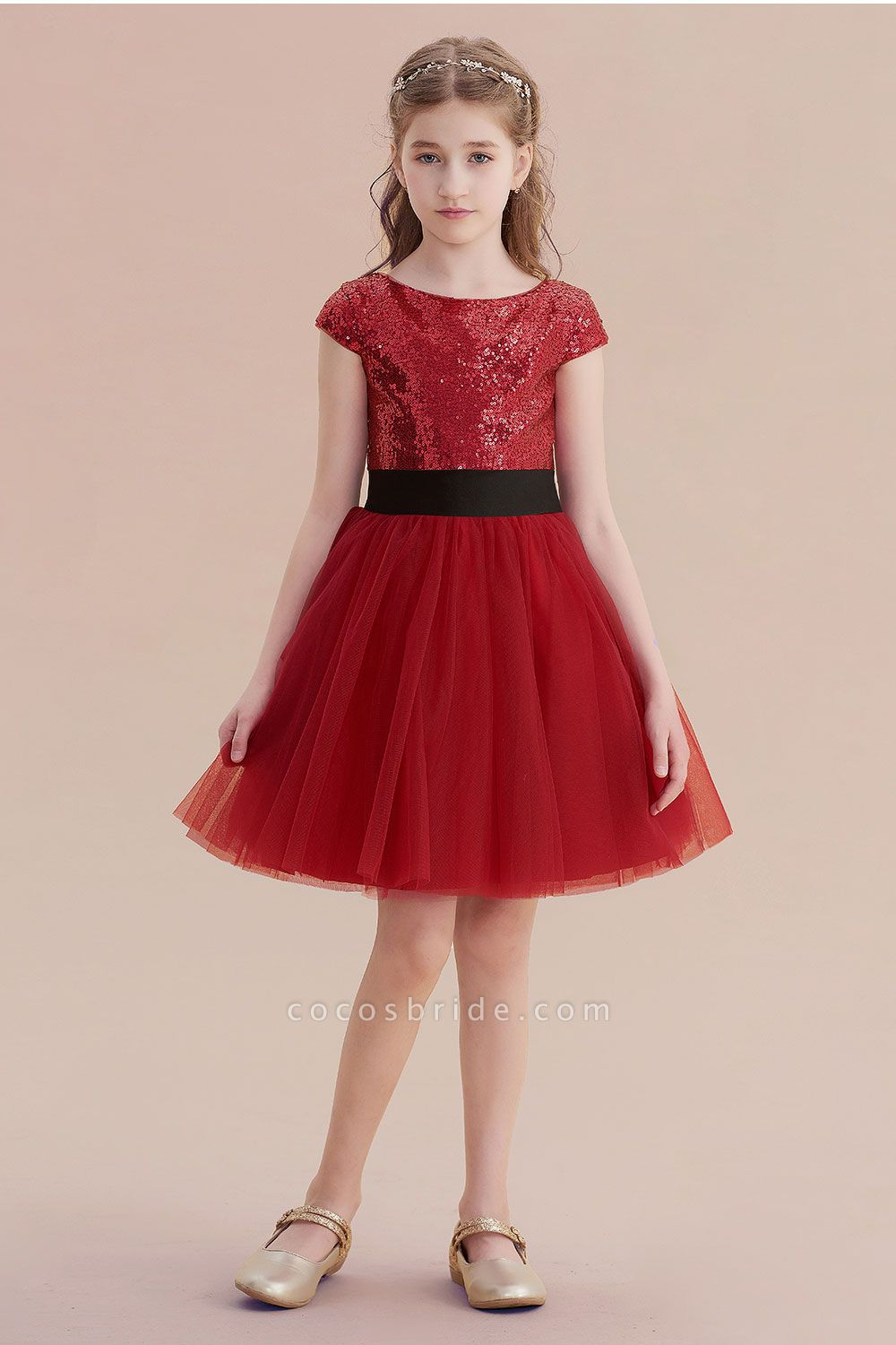 Cap Sleeve Sequins Tulle A-line Flower Girl Dress