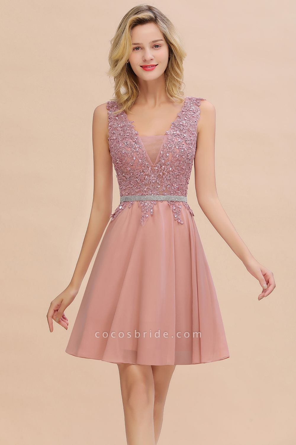 Cute Deep V-neck Short Homecoming Dress with Beaded Belt