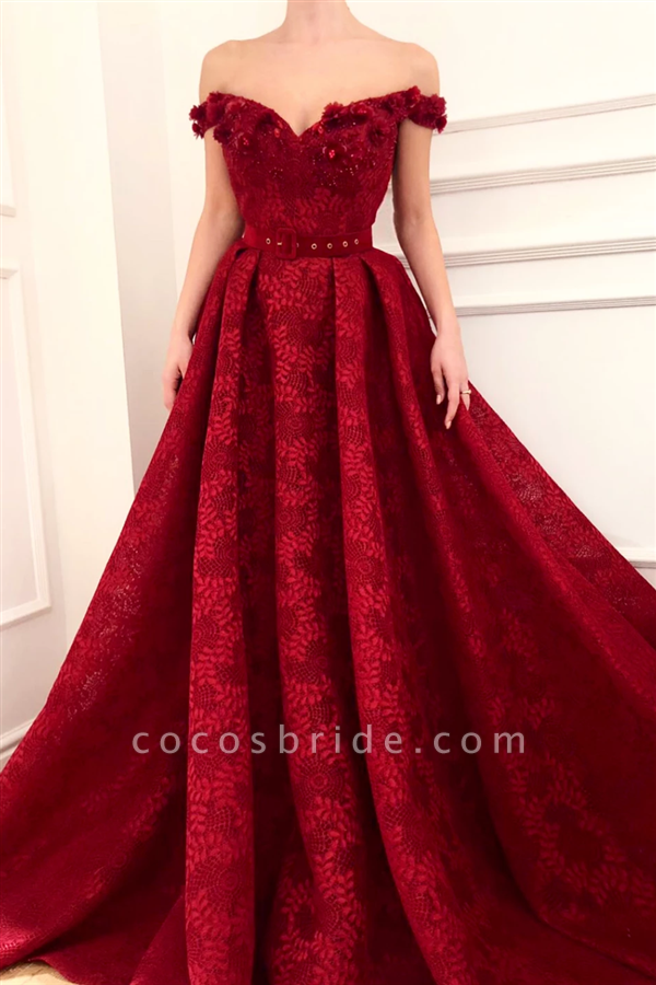 Attractive Off-the-shoulder Stretch Satin A-line Prom Dress