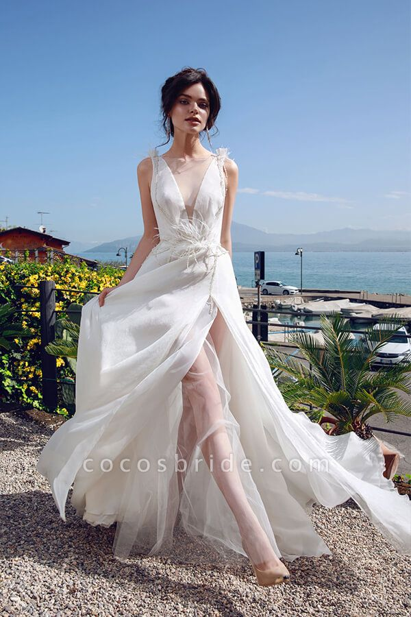 Front Slit Feather Tulle A-line Wedding Dress