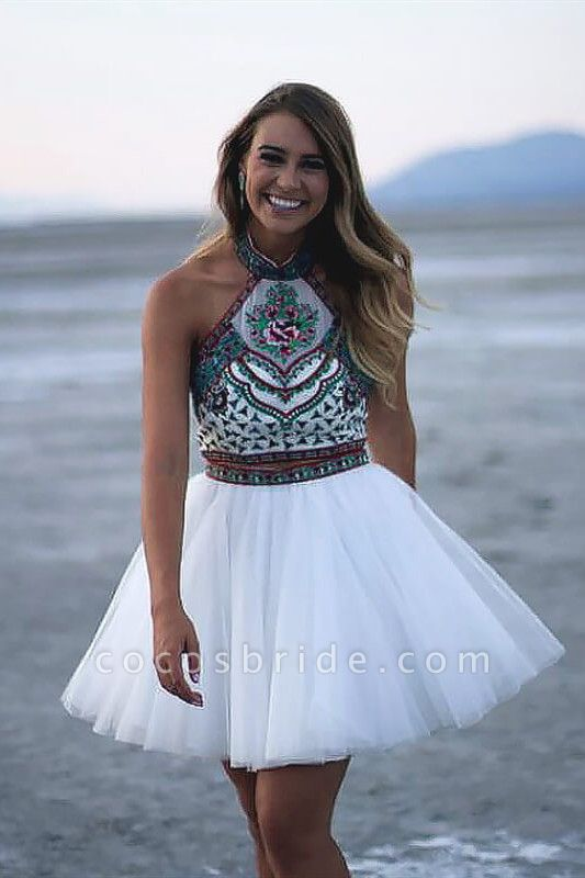 Chic Two Pieces Halter Homecoming Dress
