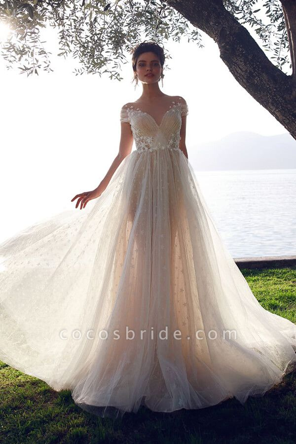 Ruffle Tulle Cathedral Train A-line Wedding Dress