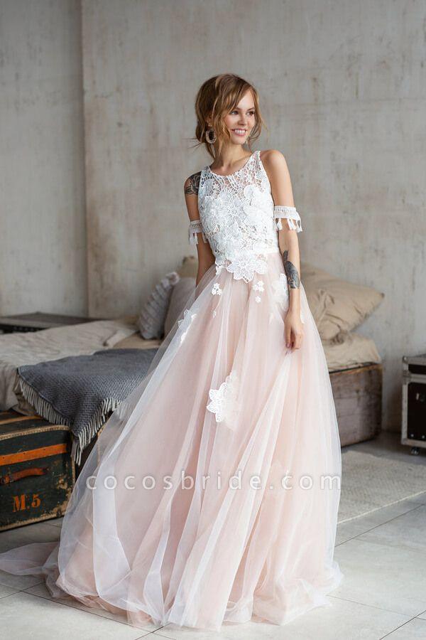 Cute Cold Shoulder A-line Tulle Wedding Dress