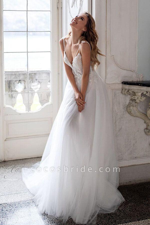 Spaghetti Strap Lace Tulle A-line Wedding Dress