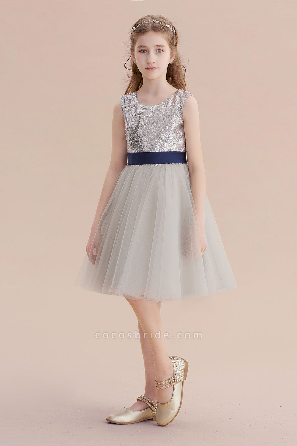 Elegant Sequins Tulle A-line Flower Girl Dress