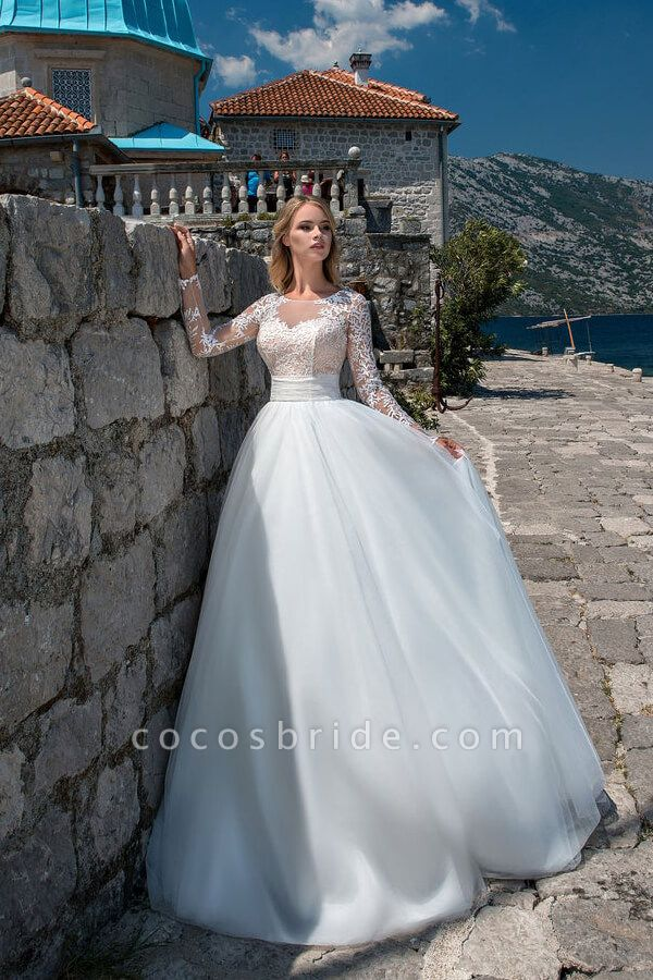 Long Sleeve Lace Tulle Ball Gown Wedding Dress