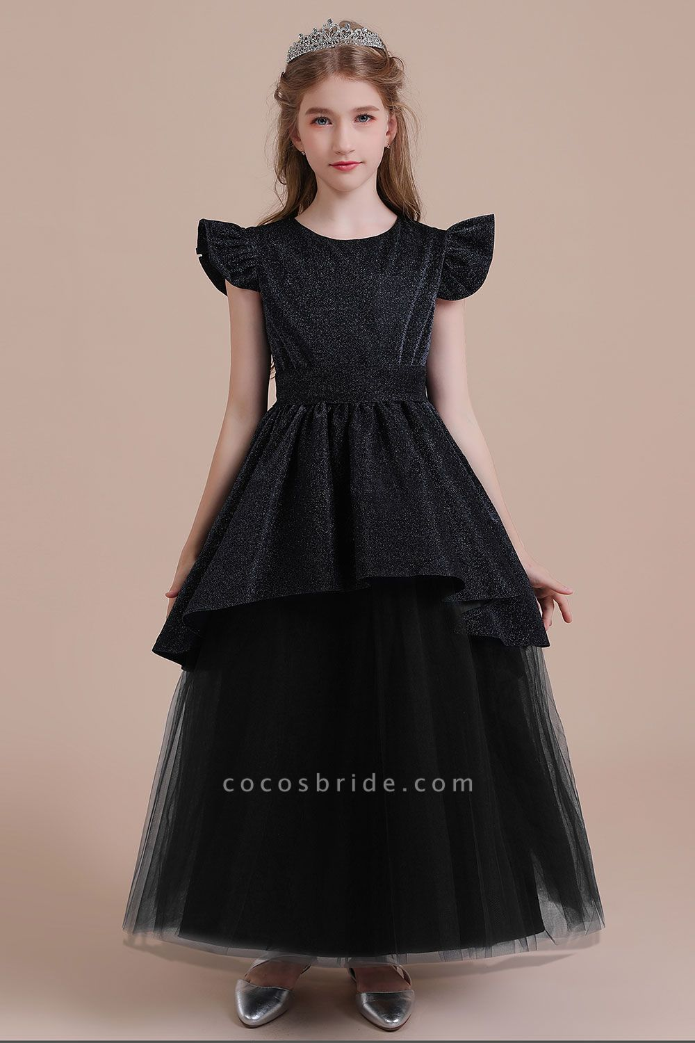 Glitter Cap Sleeve Tulle A-line Flower Girl Dress