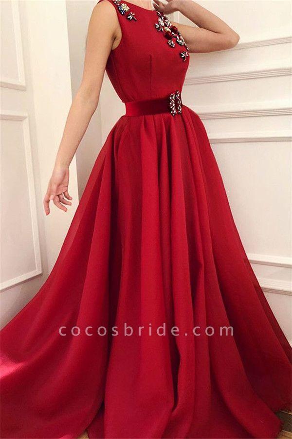 Elegant Jewel Satin A-line Prom Dress