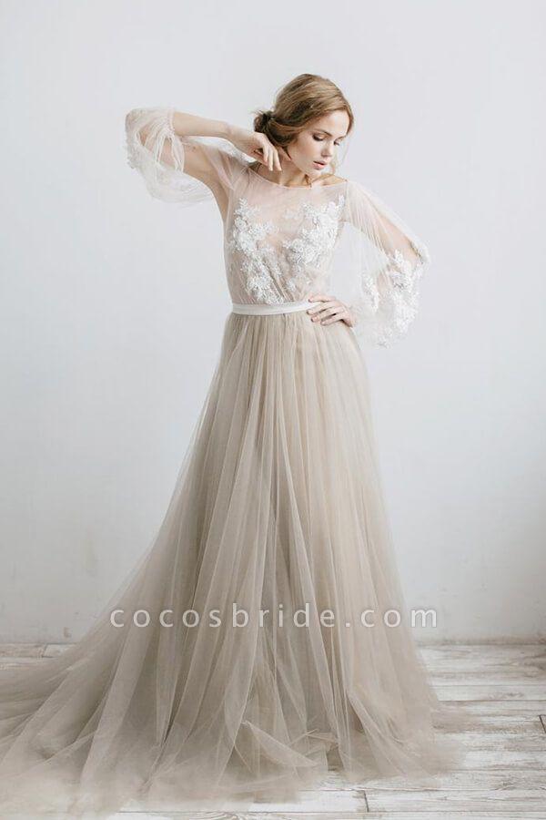 Graceful Appliques Long Sleeve Tulle Wedding Dress