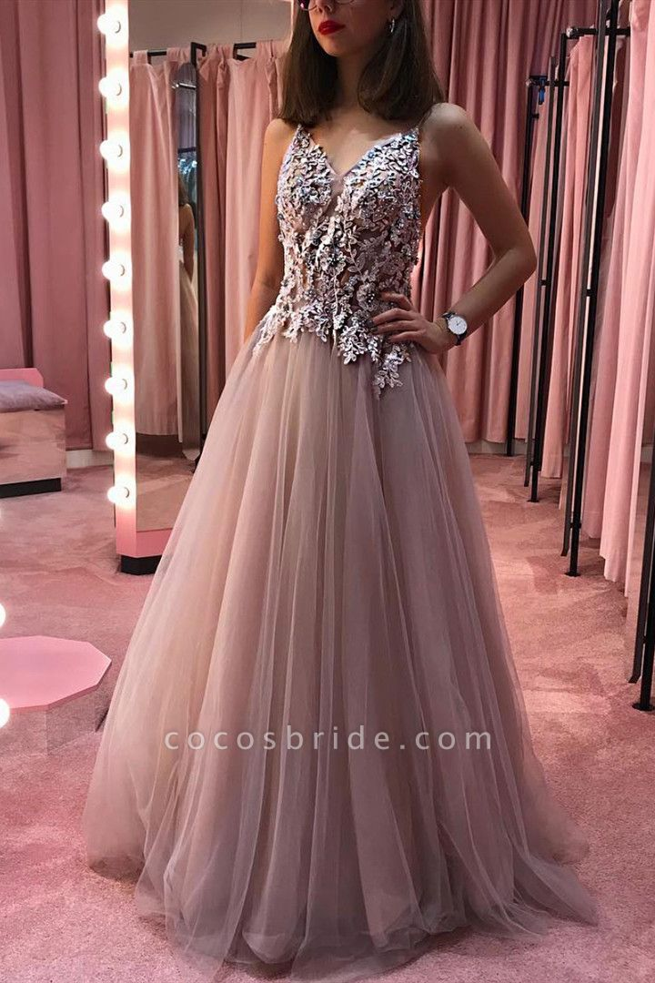 Exquisite Spaghetti Straps Tulle A-line Prom Dress