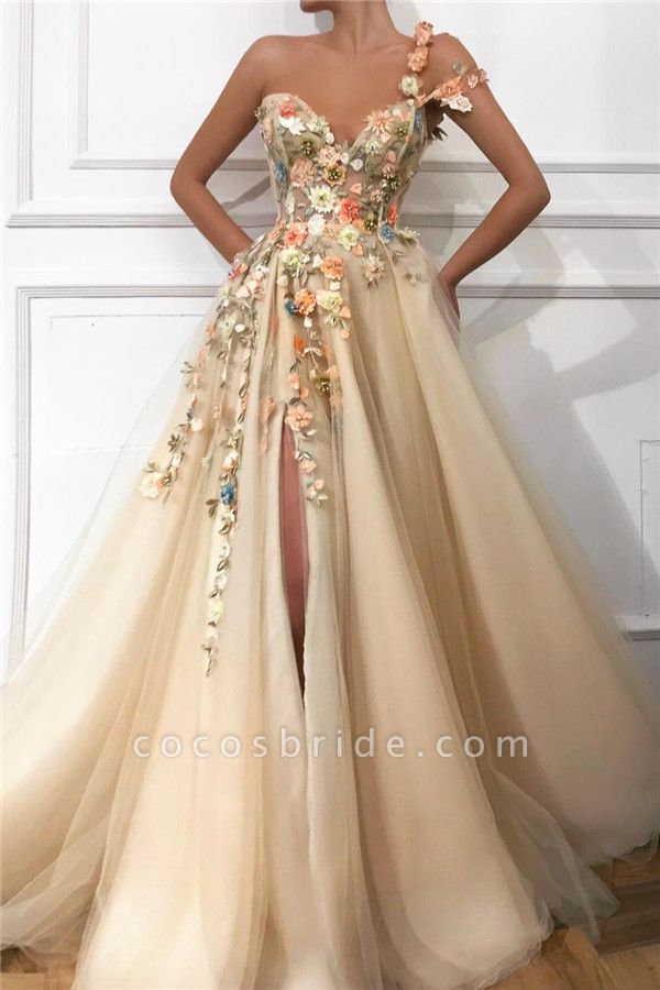 Attractive One Shoulder Tulle A-line Prom Dress