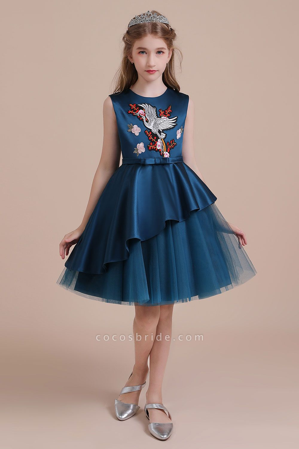 Embroidered Satin Tulle A-line Flower Girl Dress