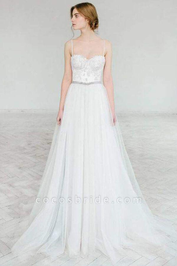 Best Spaghetti Strap Appliques Tulle Wedding Dress
