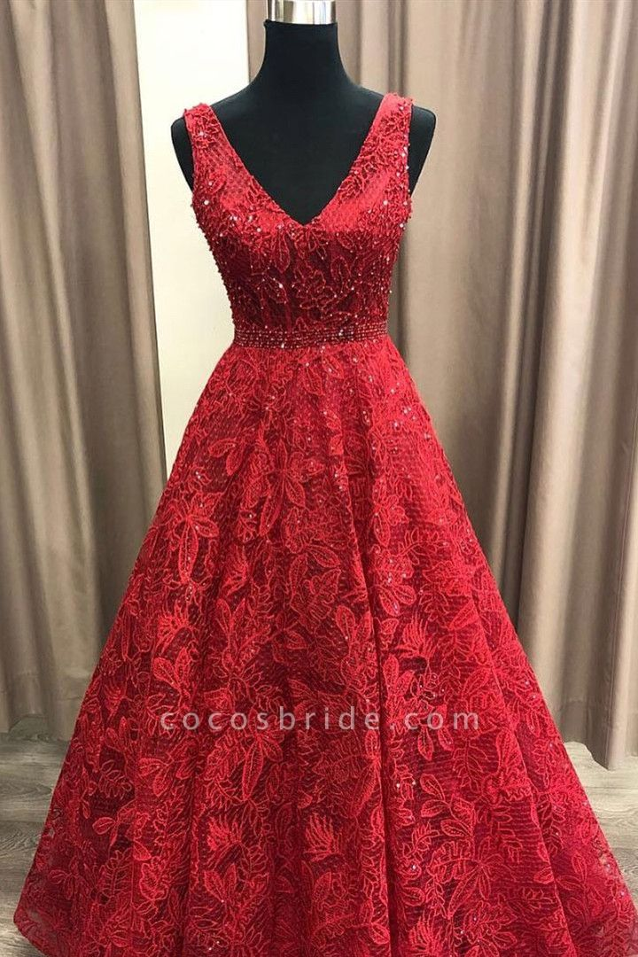 Fascinating V-neck Lace A-line Prom Dress