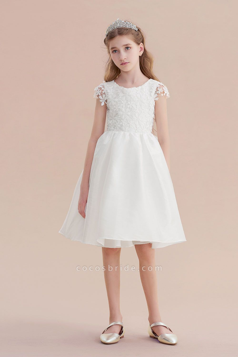 Cap Sleeve Lace Bow A-line Flower Girl Dress