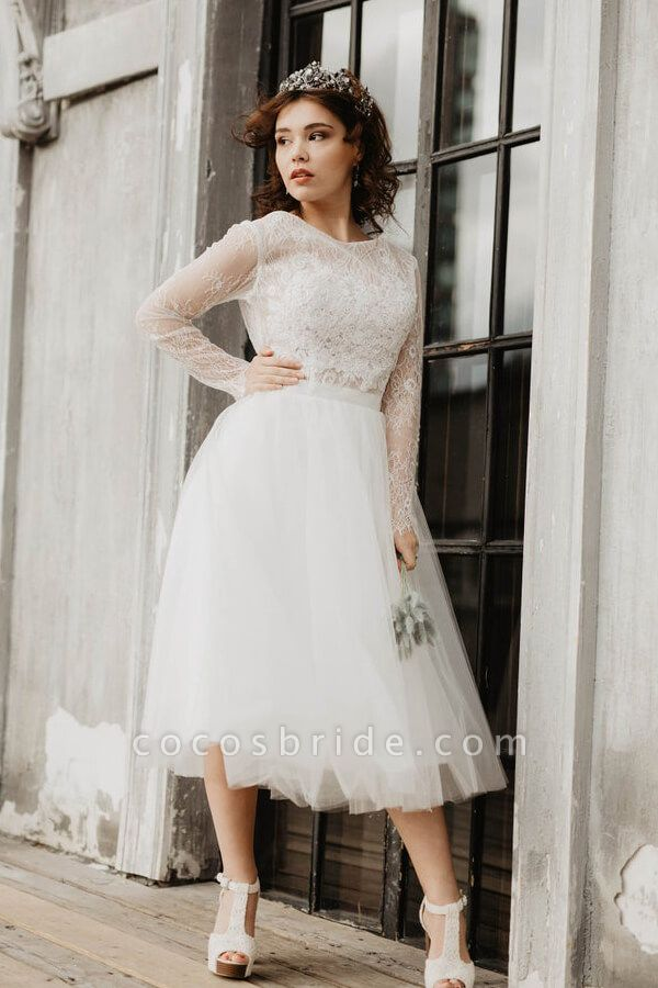 Chic Long Sleeve Lace Tulle A-line Wedding Dress