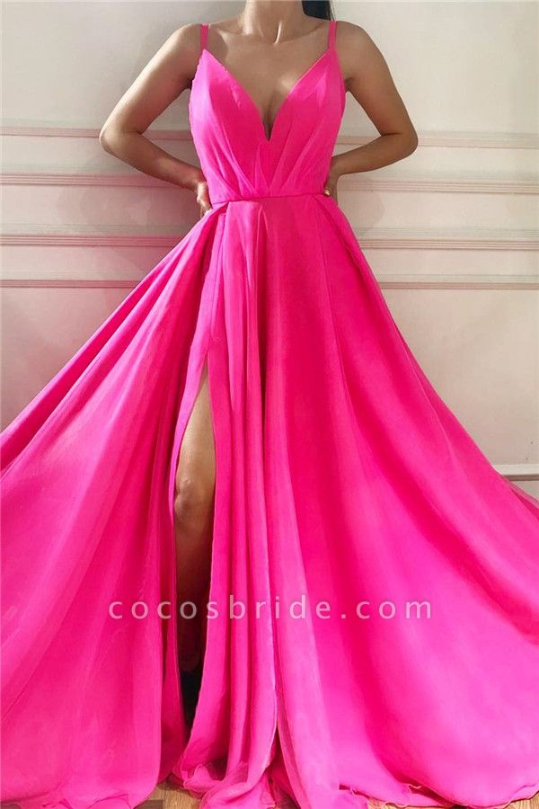Best V-neck Chiffon A-line Prom Dress