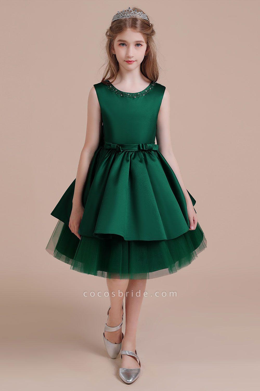 Bow Beading Satin Tulle A-line Flower Girl Dress