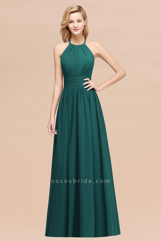 A-line Chiffon Appliques Halter Sleeveless Floor-Length Bridesmaid Dresses with Ruffles