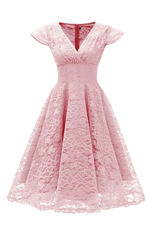 Retro Lace Cap Sleeves Dress Elegant Cocktail Party V-neck A Line Vintage Dress