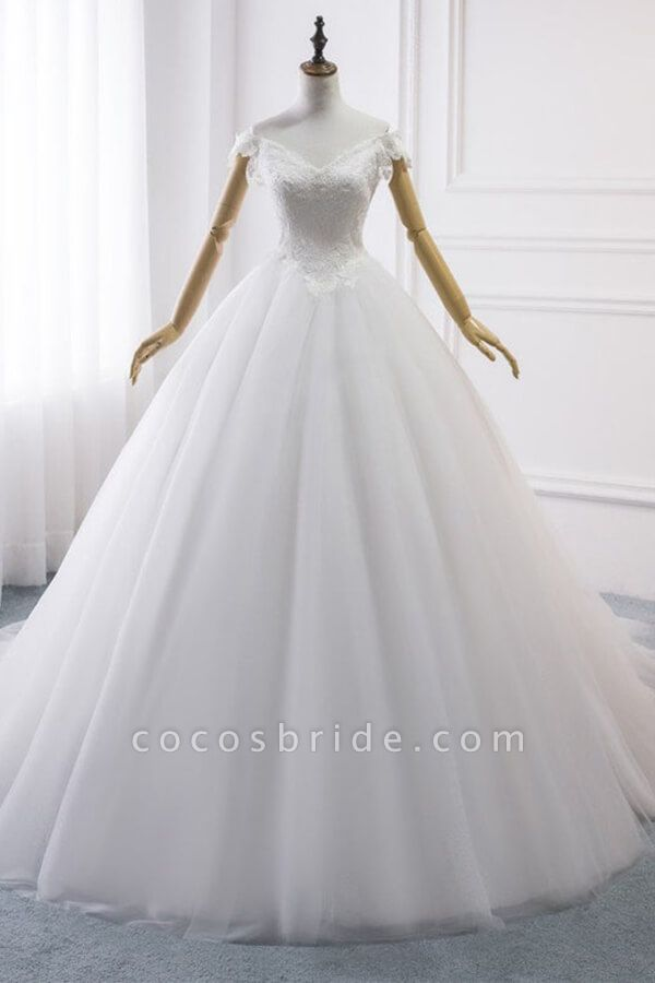 Amazing V-neck Lace Tulle Ball Gown Wedding Dress