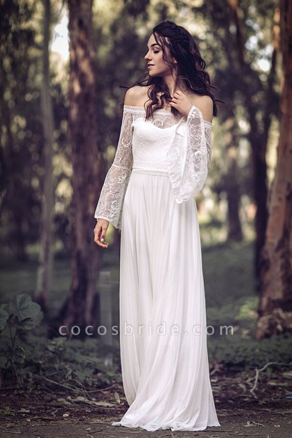 Off-the-shoulder Lace Chiffon A-line Wedding Dress