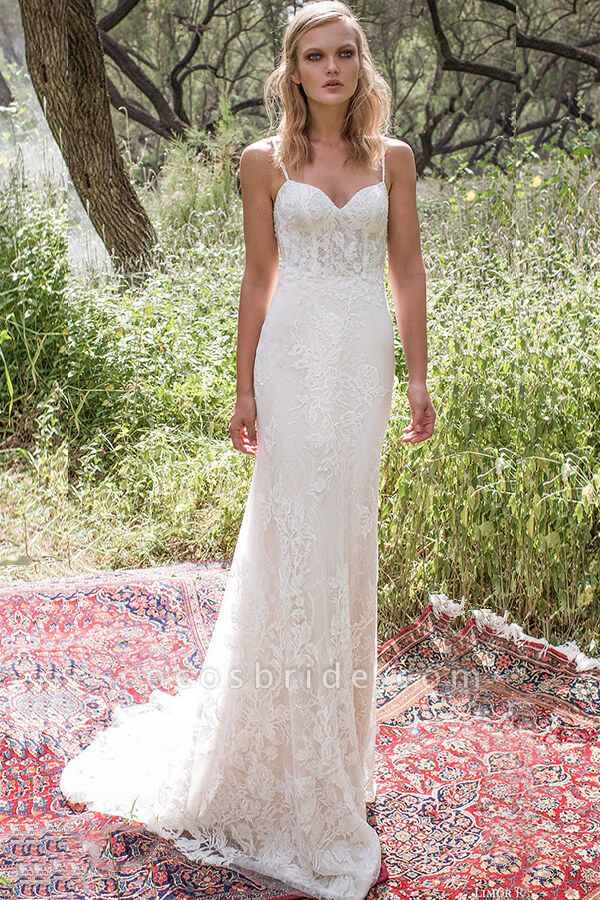 Elegant Spaghetti Strap Lace Mermaid Wedding Dress