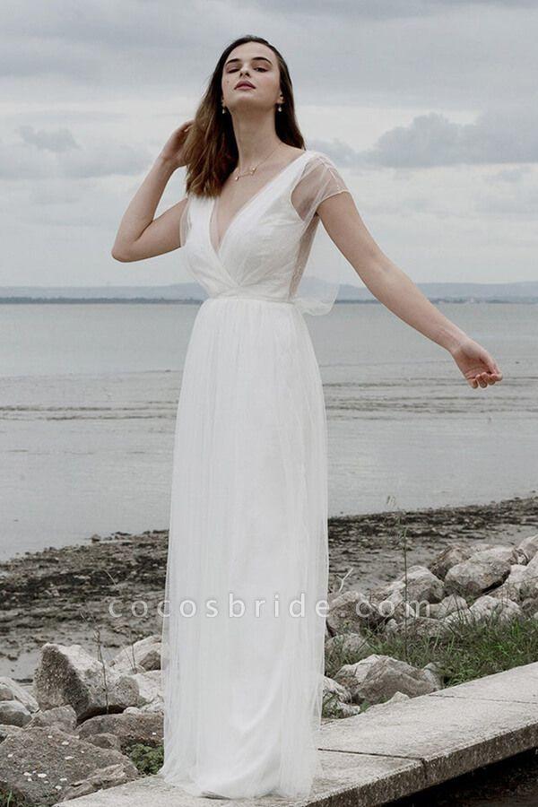 Best V-neck Floor Length Tulle Sheath Wedding Dress