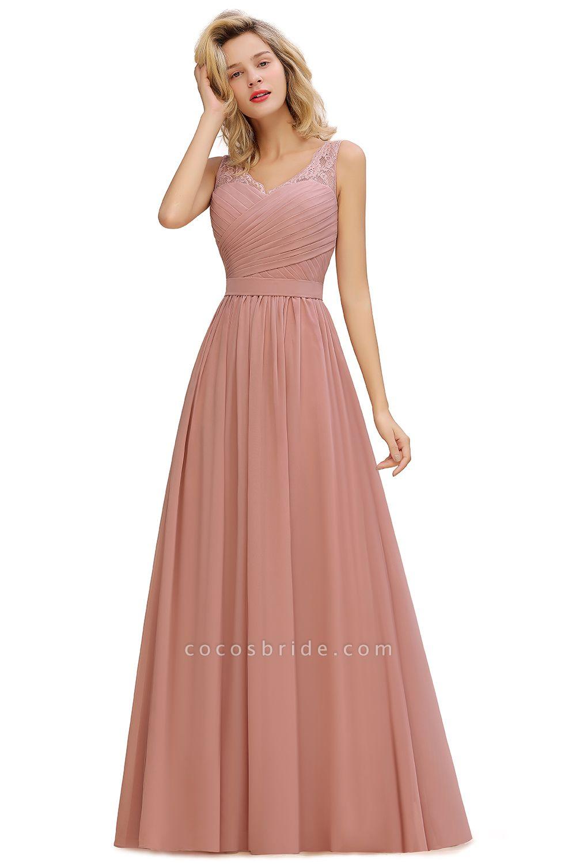 Eye-catching V-neck Lace A-line Evening Dress