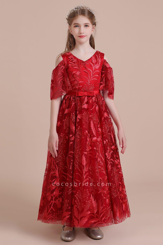 V-neck Tulle A-line Cold-shoulder Flower Girl Dress