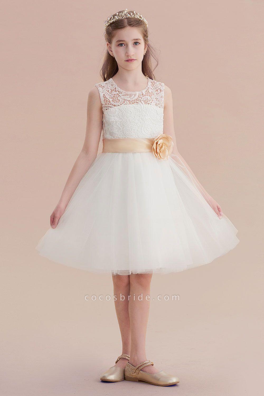 Lace Tulle Knee Length Dress Flower Girl Dress