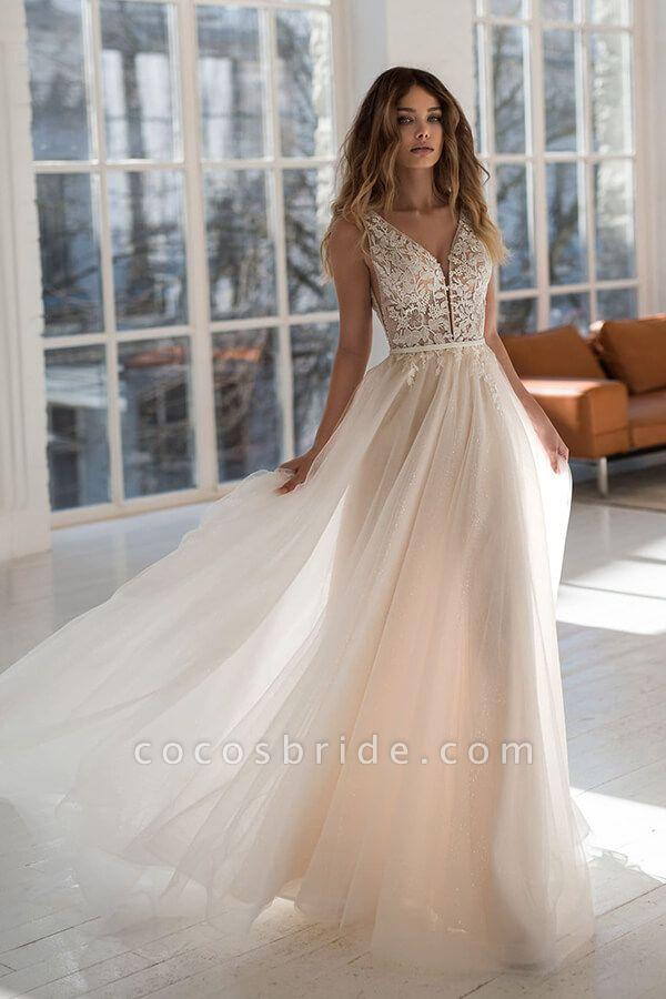 Graceful Applique Tulle A-line Wedding Dress
