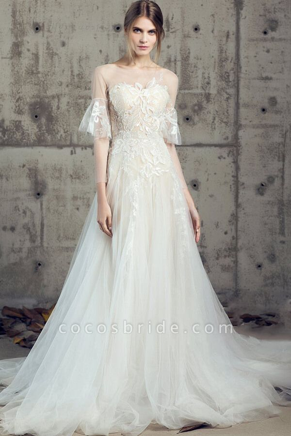 Illusion Long Sleeve Appliques Tulle Wedding Dress